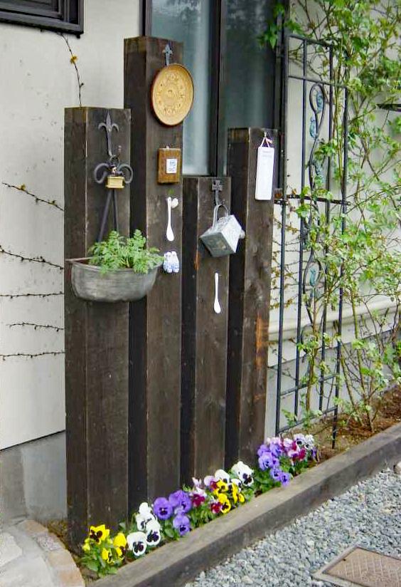 枕木飾り門柱